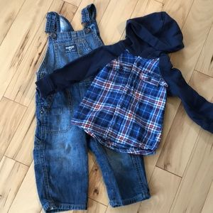 Osh Kosh flannel hoodie and flannel lined overalls